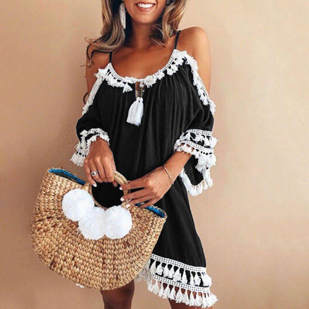 be5effbb7a Compre 2019 Mujeres Vestido Casual Mujeres Fuera Del Hombro Sexy Vestido De  La Borla Del Cóctel Corto Vestidos De Playa Sling Sundress Vestidos A   39.96 Del ...