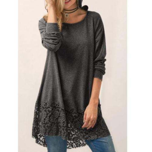 2997a99a0e4c5 2019 Good Quality Women Autumn Loose Long Sleeve Casual Blouse Shirt Ladies  Casual Lace Hooded Solid Tops Pullover From Jamie04