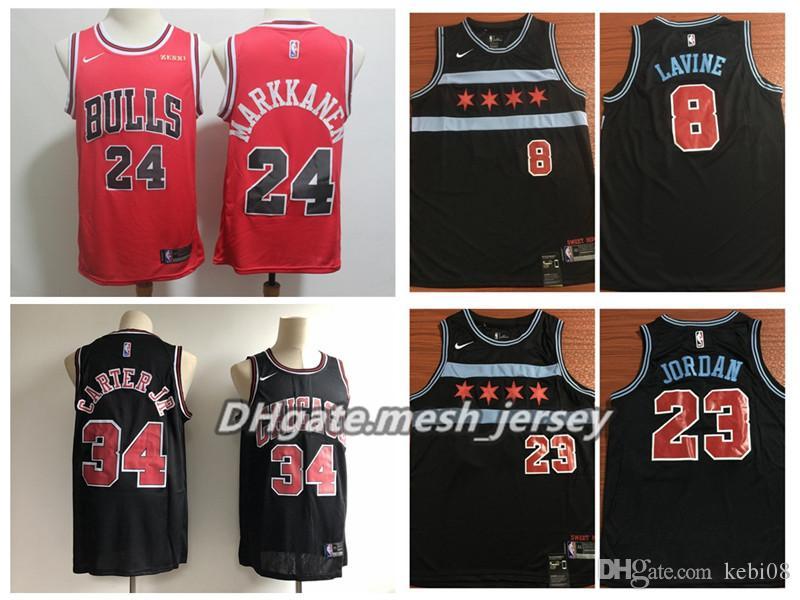 hot sale online 75d87 d94f6 Men Chicago Basketball Bulls City Jersey Edition 8 LaVine 24 Markkanen 23  Michael JD 34 Carter Jr. ALL Stitched Jerseys