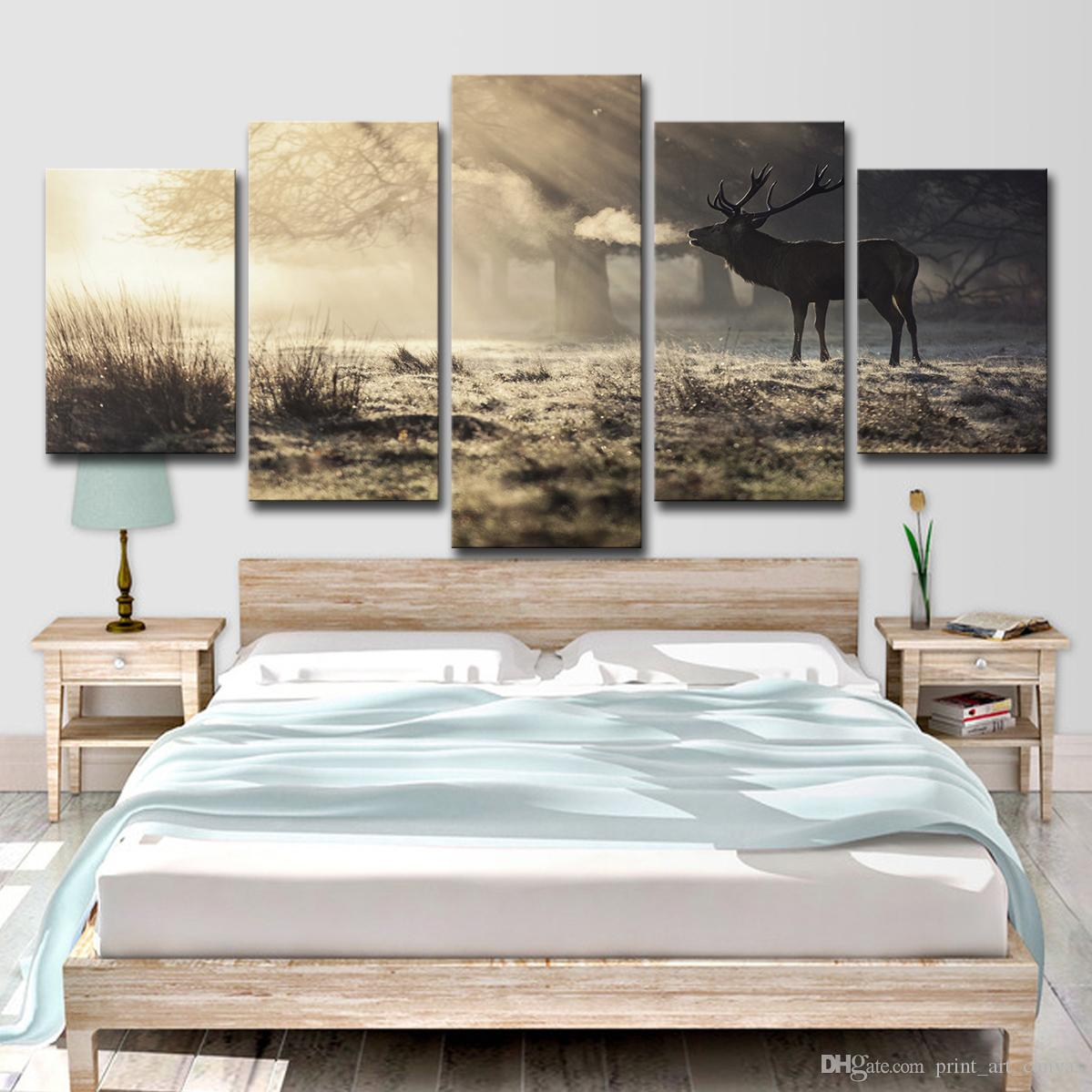 5pcs HD Printed Winter Deer Painting on Canvas Room Decoration Print Poster Picture Canvas Free Shipping