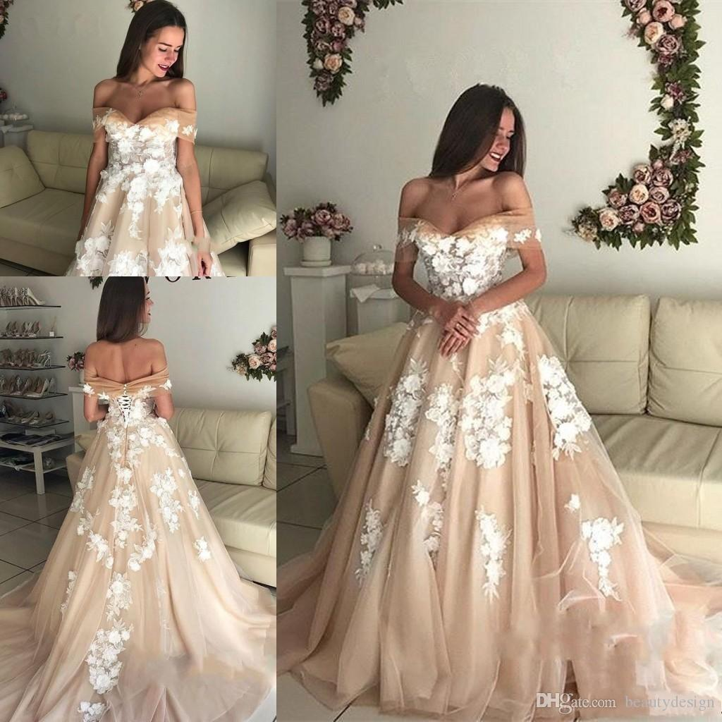 Empire Waist Off The Shoulder Long Champagne Wedding
