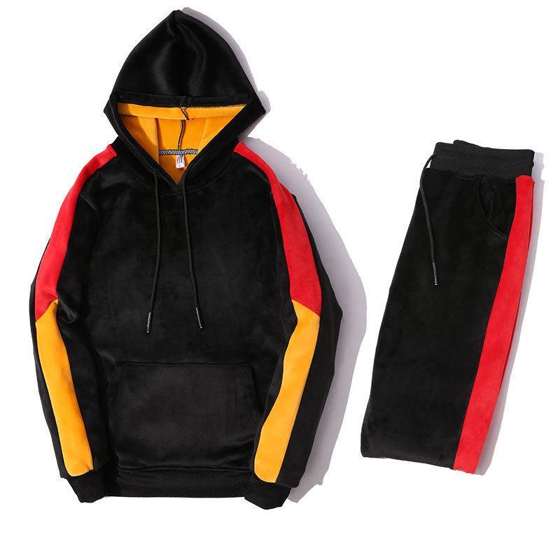 068e136c9069 2019 мужские спортивные костюмы зимний золотой бархатный спортивный костюм  ...