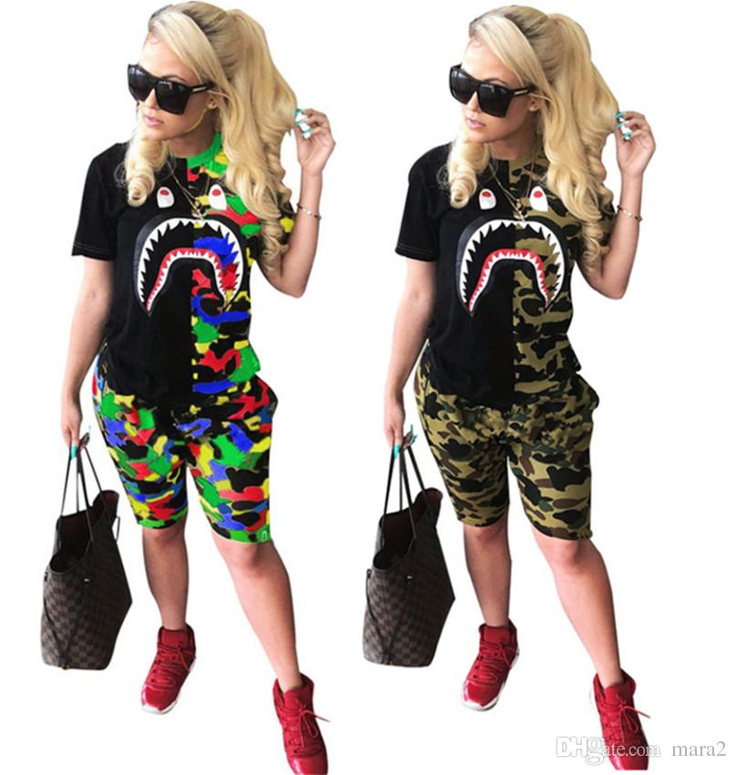 Women 2 piece set summer clothes plus size t-shirt sportswear sweatsuit short sleeve panelled print Animal camouflage knee-length shorts 621