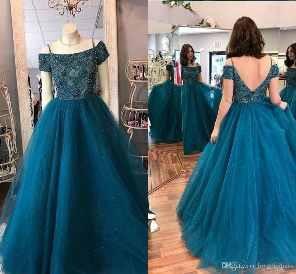 2019 New Teal Blue Prom Dresses Long Off The Shoulder Beading Hand Working  Crystal Sequin Open Back Short Sleeve A Line Dresses Evening Wear Formal  Dresses ... 4a6213edb335