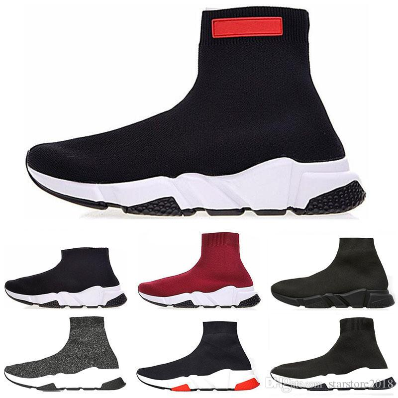 Freeshipping 2019 Speed Trainer Luxury Shoes red grey black white Flat Classic Socks Boots Sneakers Women Trainers Runner size 36-45