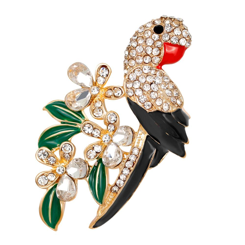 10pcs/lot Parrot Cute Enamel Bird Brooches For Women Shiny Crystal Alloy Brooch Lovely Animal Pins Banquet Party Gift New Fashion jewelry