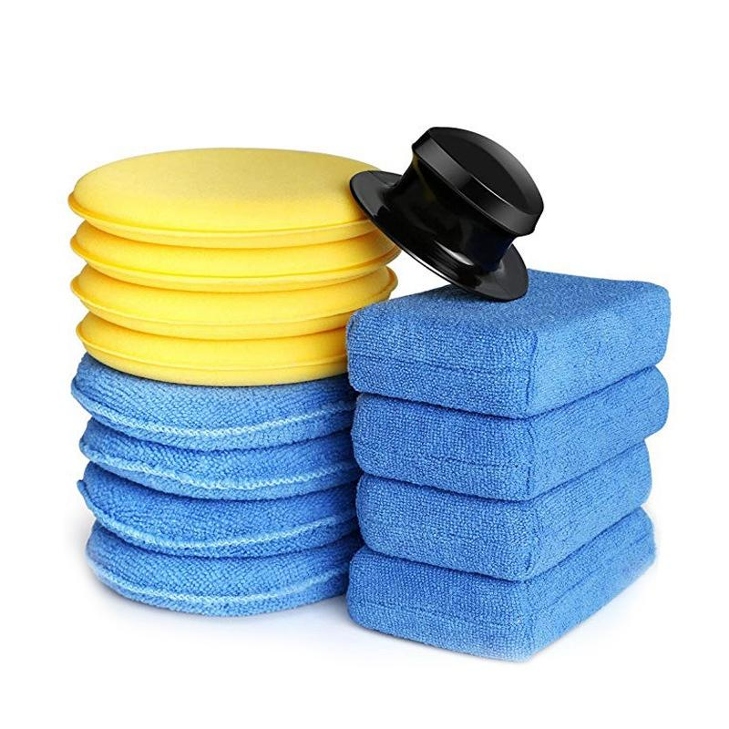 13-Piece Car Manual Polishing And Waxing Exclusive Set Waxing Sponge Microfiber Block Handle