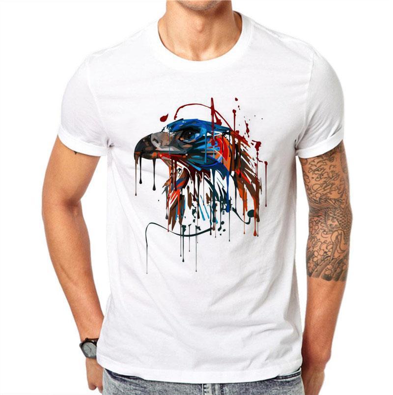 100% Algodón Acuarela Águila Moda 3d Impreso Blanco Tops Camisetas frescas Frutas camiseta impresa Hombres ocasionales más tamaño 4xl camiseta