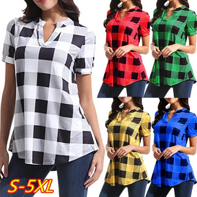 Women Plaid Blouse Short Sleeve V-neck T Shirt Loose Grid T-shirt Tops Oversized Pullover Shirts Casual Ladies Blouses Tees Summer BEST