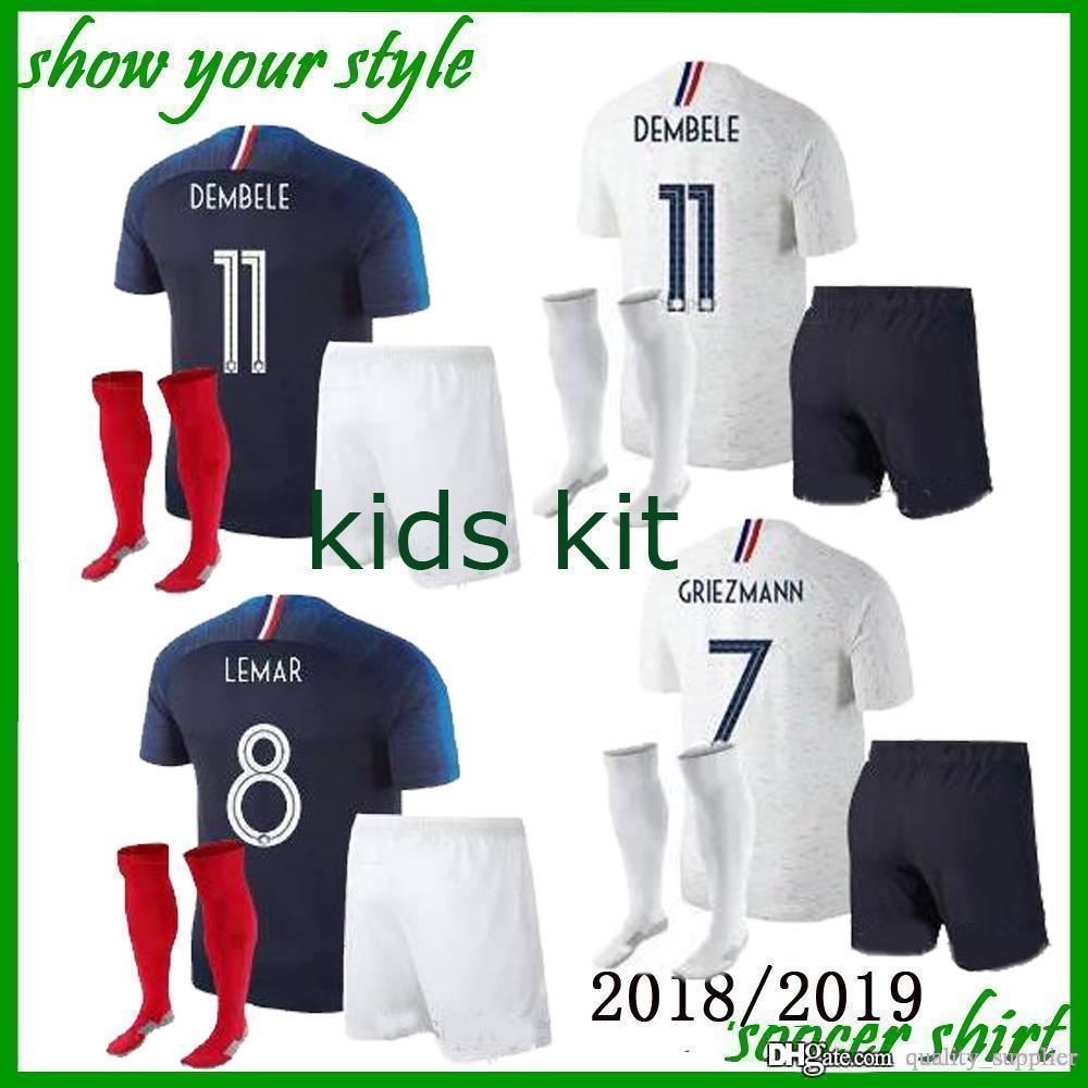 a79caa601 2019 France Kids Kit Pogba Soccer Jersey 2018 World Cup 18 19 PAYET DEMBELE  MBAPPE GRIEZMANN KANTE National Team Football Shirts COMAN AWAY Whit From  ...