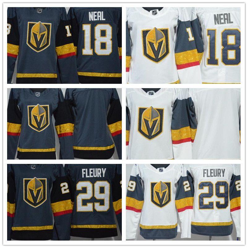 best service 88e31 8da19 2018 Women Las Vegas Golden Knights 29 Marc-Andre Fleury 18 James Neal  Blank White Black Grey Lady Hockey Jerseys Wholesale High Quality