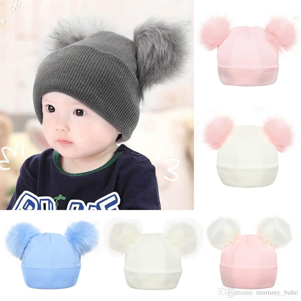 87d45840a19 Baby Kids Warm Winter Caps Double Fur Pom Pom Hats Beanies Children Wool  Knitted Cap Boys Girls Raccoon Fur Pompom Hat Bonnet UK 2019 From  Mummy babe