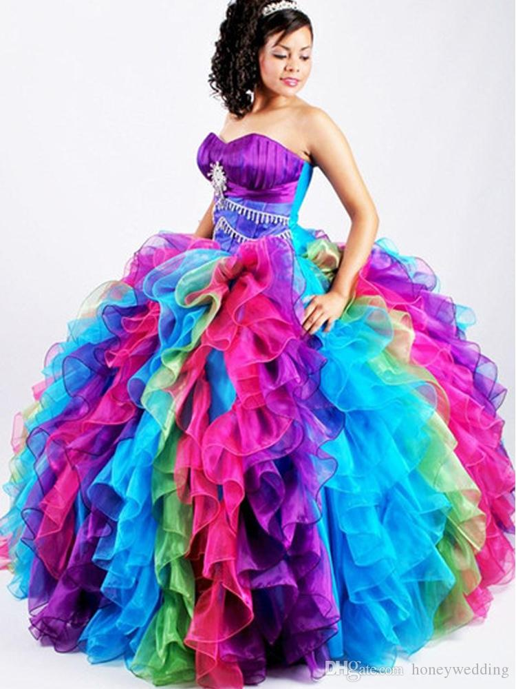 Sweetheart Prom Ball Gown 2019 Vestidos de quinceañera Sweet 16 Vestidos Rainbow Debutante Gown Colorful Ruffles Crystal Beaded Party Dress