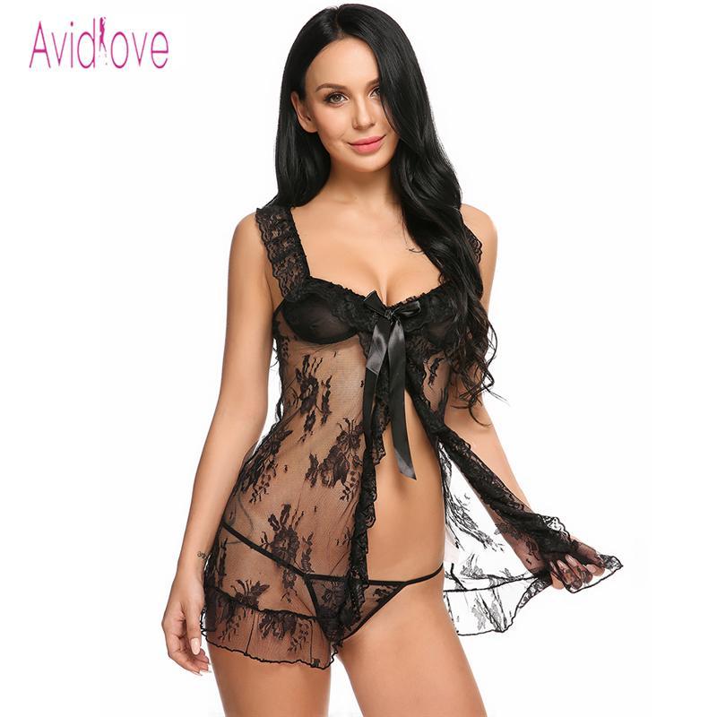 941d6d88e4 Avidlove Sex Clothes Underwear Lingerie Sexy Hot Erotic Babydoll Women Open  Front Lace Sex Night Sleep Wear Nightwear Costumes D18120802 Womens Pyjamas  ...