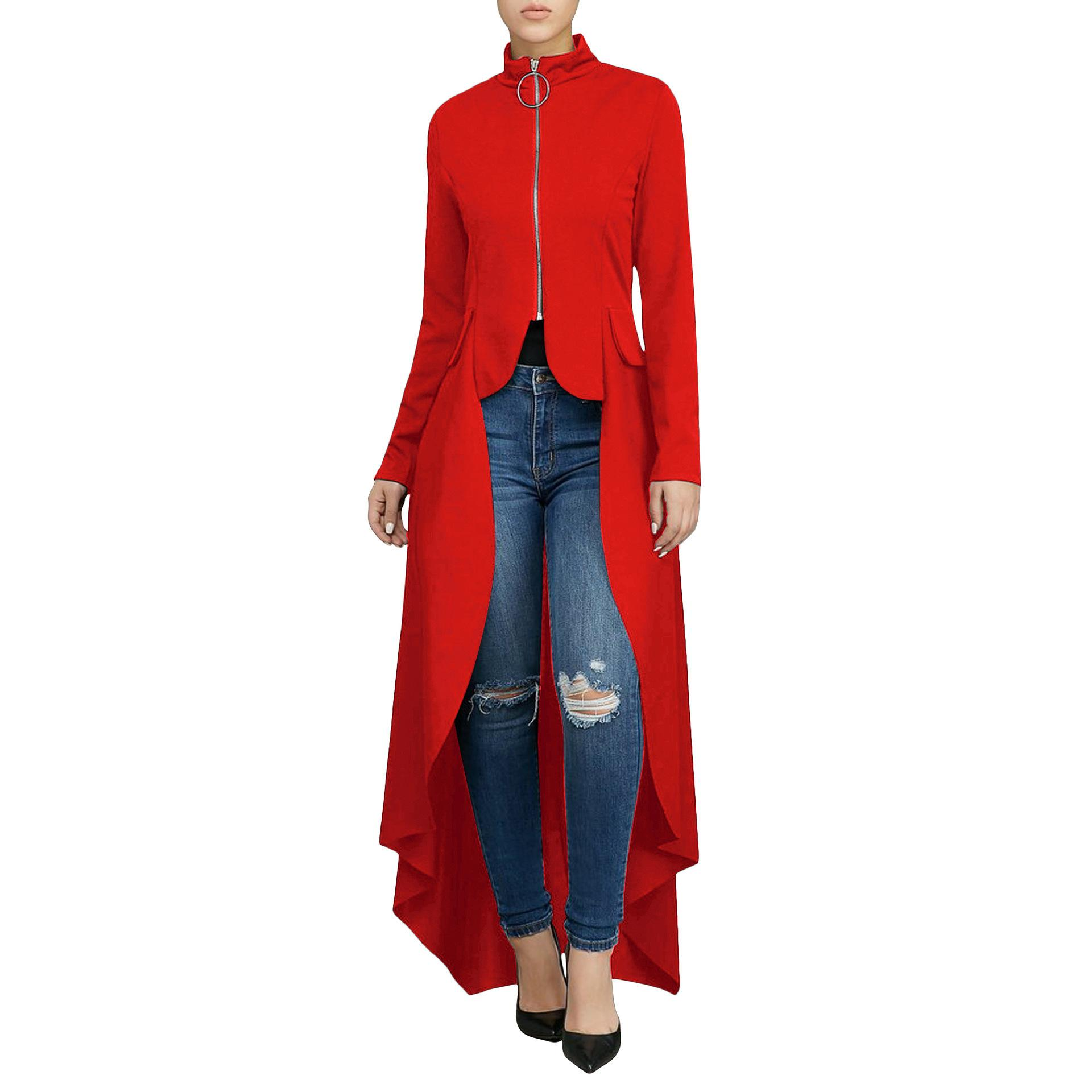 Spring Clothing High Street Long Sleeve Stand Neck Long Dress Women Zipper Cardigan Loose Irregular Dress Elegant Green Red T5190613