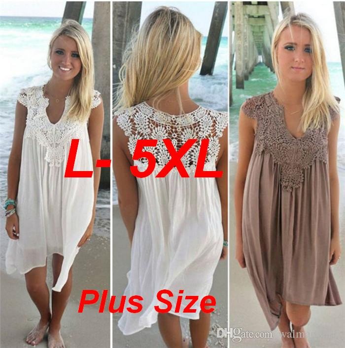 Lace Beach V-neck Bikini Cover Ups Plus Size 5XL Women Swimsuit Beach Cover up for Beach Fishnet Stitching Chiffon Skirt Flower ouc035