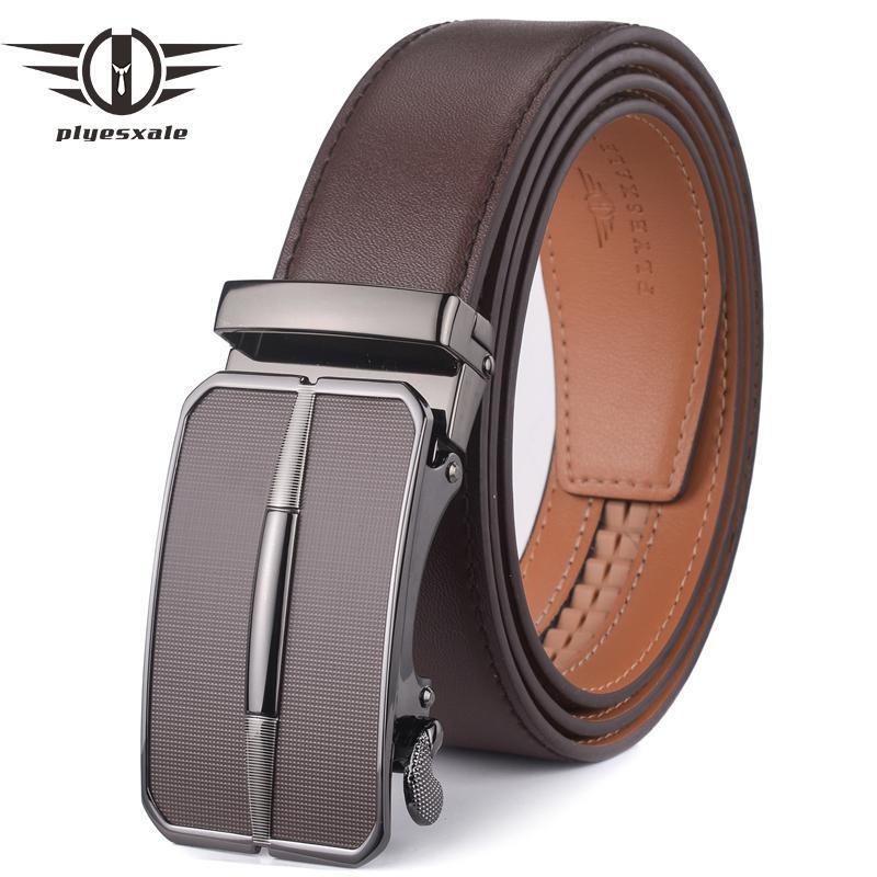 Compre Plyesxale Cinturón De Cuero Para Hombre 2018 Hebilla Automática  Cinturón Para Hombre Para Pantalones Vaqueros Marca De Moda Marrón Para  Hombre ... 51bd29e9ec9d