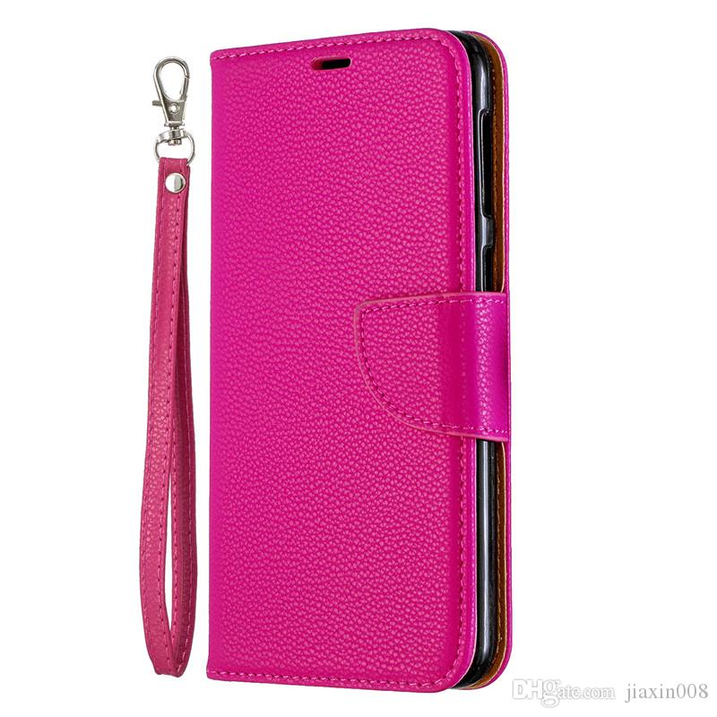 huge discount d6bb7 bbb3d Flip Cover Stand Wallet For Samsung Galaxy M30 Case Pure Color Lichee  Pattern PU Leather Mobile Phone Cases