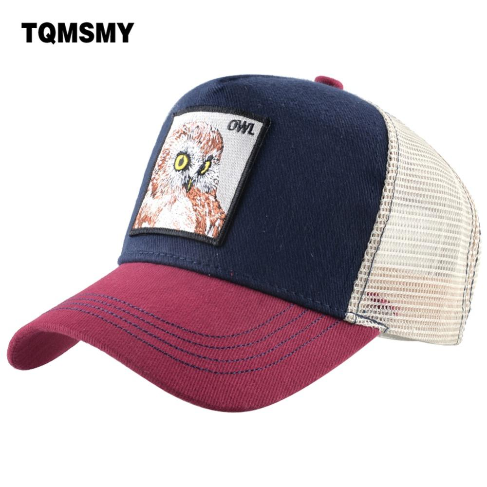 8f9483b5f TQMSMY Cool Male Baseball Cap Embroidery Owl Cotton Mesh Hats For Men Women  Snapback Trucker hats Casual Hip Hop Caps DHMTY