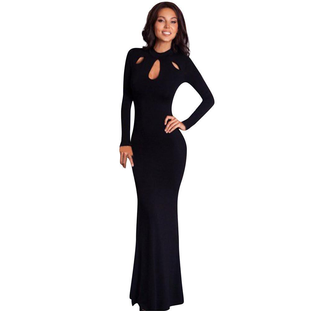 a4dab6c9d Compre Vestido Largo Ajustado Para Mujer Vestido Largo De Manga Larga Sexy  Ahueca Hacia Fuera Vestidos Maxi Negros Vestido De Fiesta  VE A  26.25 Del  ...