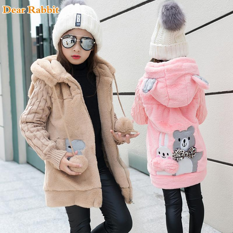 7083ff4b7 Lovely Little Bear Winter Girls Clothing Faux Fur Fleece Coat Warm ...