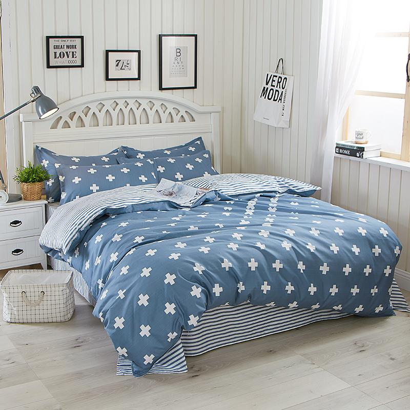 Brief Style Blue Color Duvet Cover Set Twin Queen Size Bedding Sets