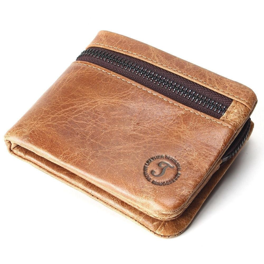 7864eeb2cee4 Genuine Leather Mens Wallets Brand Brown Zipper Design Bifold Short Men  Purse Male Clutch With Card Holder Coins Purses Wallet Custom Leather  Wallets ...