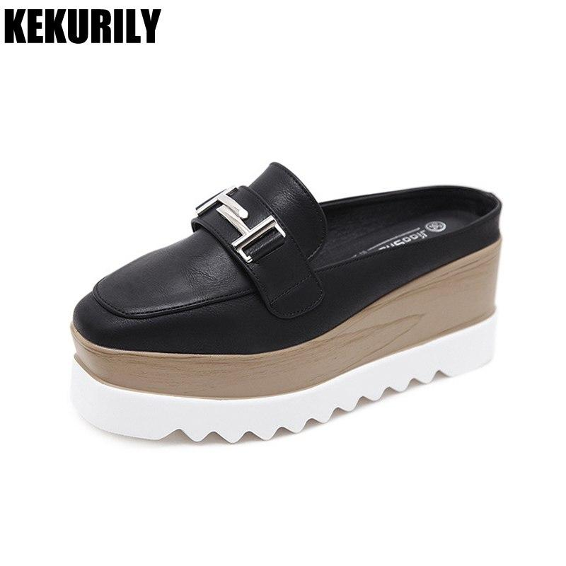 45d61d46e9fc4 Shoes Woman Metal Decoration Slides Square Toe Sandals Wedges Mules Ladies  Platform Slippers Slip On Zapatos Mujer Black White Shoes Uk Platform Boots  From ...