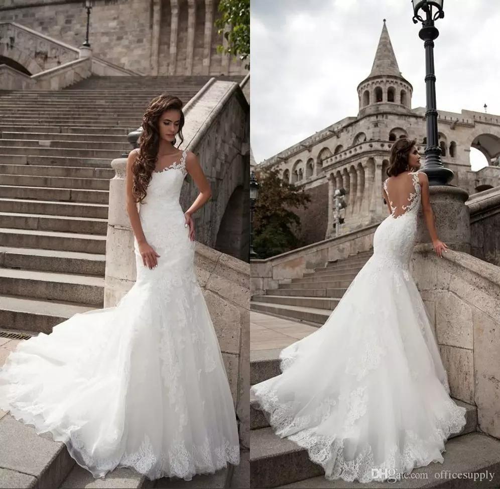 Elegant Simple Sleeveless Lace Wedding Dresses Puffy New Backless Bridal Gowns Vestido De Noiva Plus Size