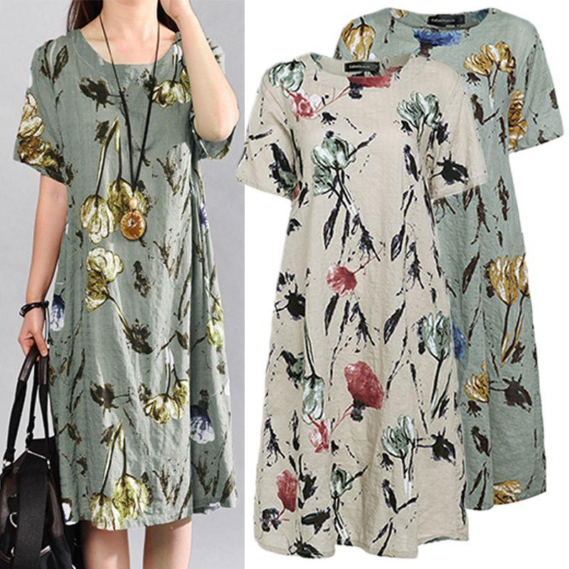 2dd4002eea2 2019 Plus Size Summer Dress Celmia 2019 Women Vintage Floral Print ...
