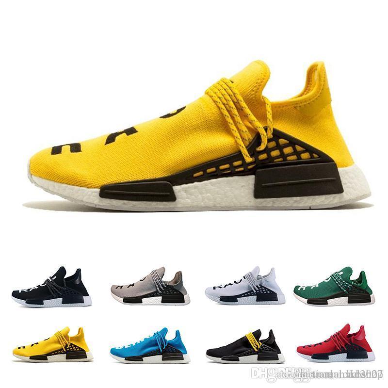 super popular bdca4 85e01 2019 NMD Human Race Mens Running Shoes Pharrell Williams Sample Yellow Core  Black Sport Designer Shoes Women Sneakers 5-11