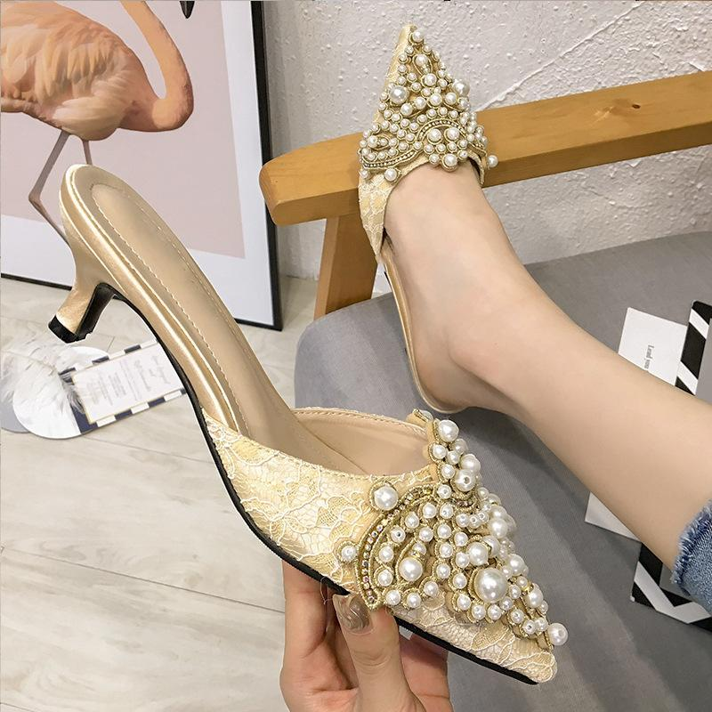 Pretty2019 Fine Sharp Pearl Baotou Slipper con scarpe da donna