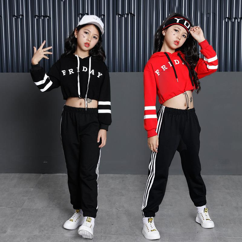 Girls Street Dance Clothing Kids Black Red Letter Crop Hoodie Top With Long Sleeves Pant 2pcs Teenage Clothes Set For Girls Y190522