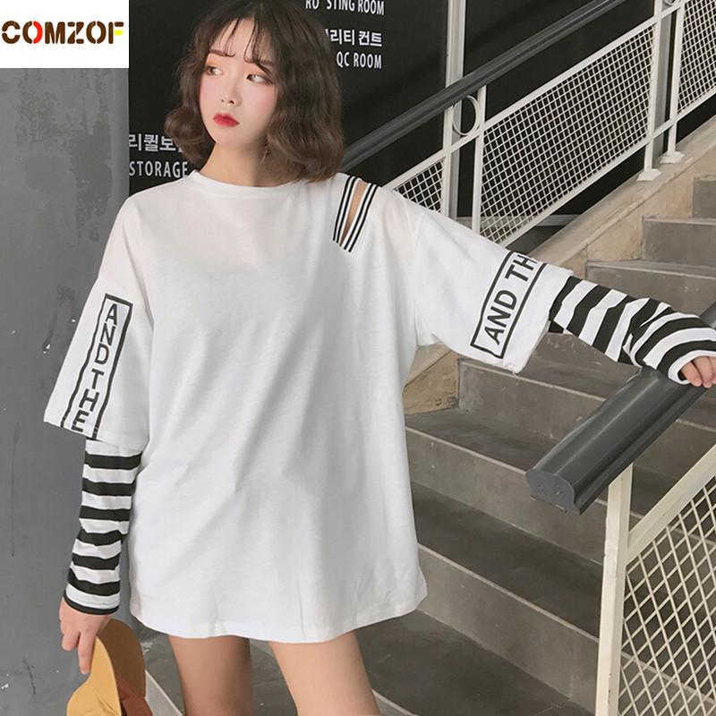79f4c8ba101b78 Women Korean Fashion Oversized Long Sleeve T Shirt Hip Hop Punk ...