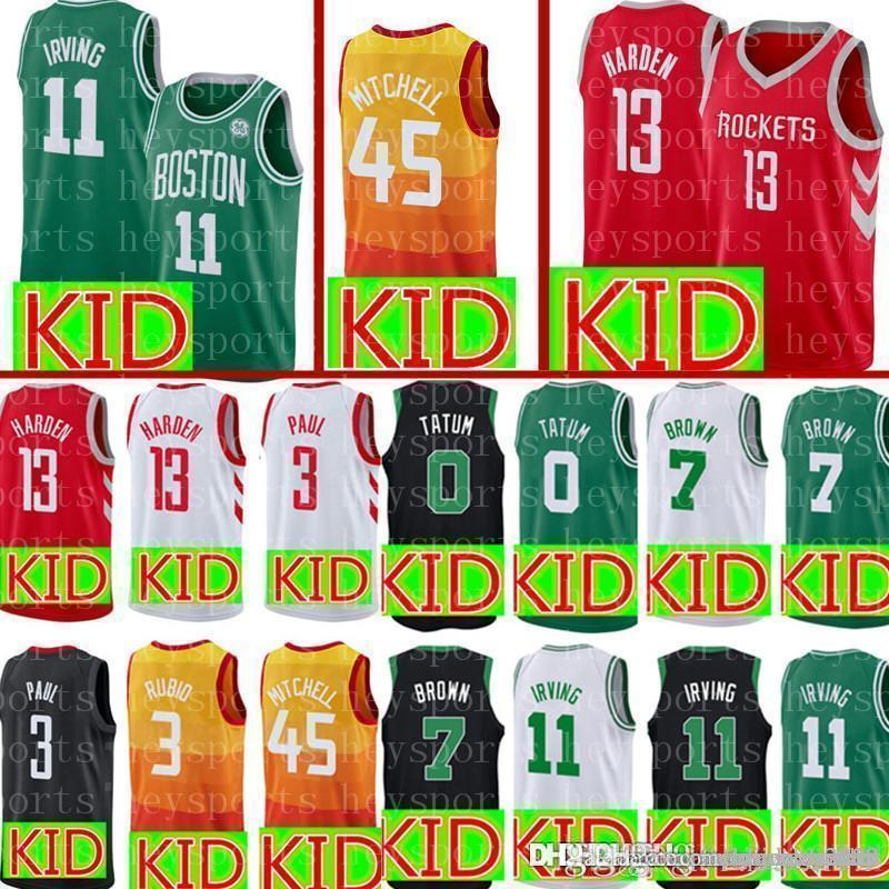 38fda18e69fe 2019 New KID Boston 11 Kyrie Jayson Irving 0 Tatum Celtic Jersey Youth  Donovan 45 Mitchell Utah James 13 Harden Rockets Jerseys From Big red shop