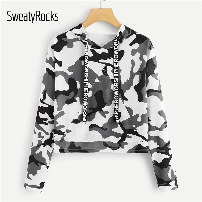 9196af68cb1b3 2019 SweatyRocks Letter Tape Camo Print Crop Hooded Sweatshirt Women Long  Sleeve Pocket Front Hoodies Streetwear Autumn Casual Tops From Liangcloth