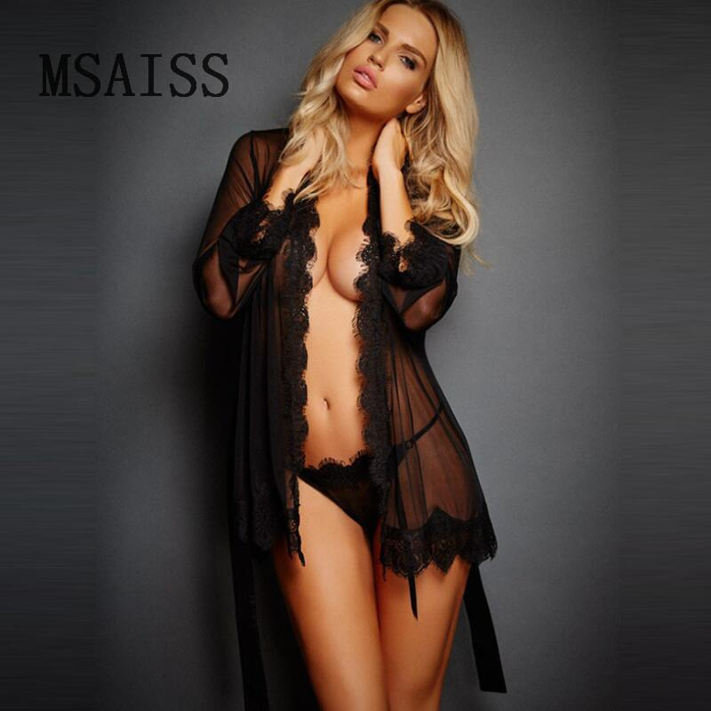 2f6a1e884a 2019 New Erotic Sleepwear Women Lace Sheer Lingerie Sexy V Neck Nightwear  Robes With Women Robe From Sandlucy, $34.36 | DHgate.Com