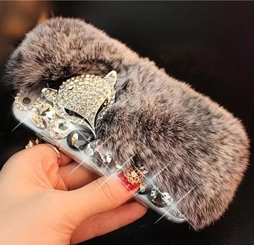 LaMaDiaa 3D Luxury Bling Diamond Soft Fur Case Fox Head Phone Case For iPhone X 5s 5C 6 6s plus 7 8 plus For Samsung Phone Cover