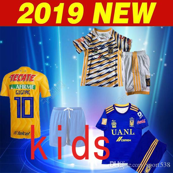 2018 2019 Tigres UANL Third Kids Soccer Jersey Shorts  10 GIGNAC SOSA Football  Sets 18 19 Tigres UANL Away Child Blue Soccer Uniforms UK 2019 From  Sport538 9f5700f54