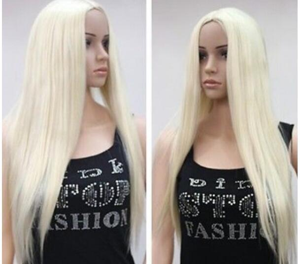 FREE SHIPPIN++ WOMEN S FULL WIG Pale Blonde NO BANGS Long Straight Blonde  Wigs Lace Front Wigs Uk From Dingyingying68687 0aa70e13f