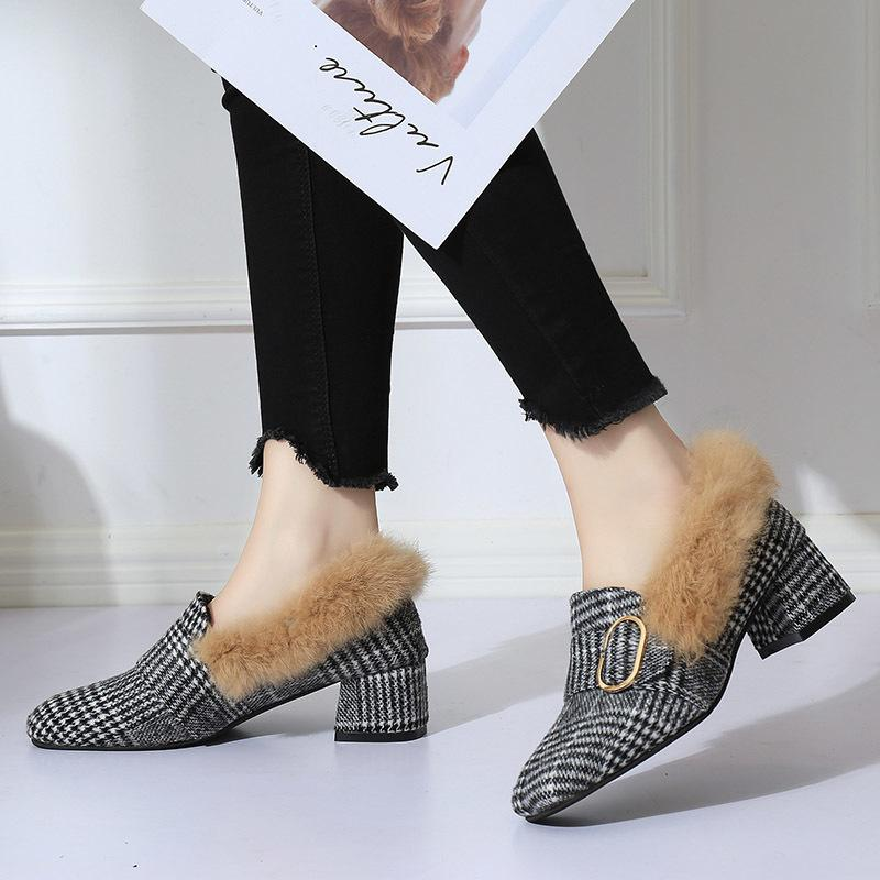da53a5fd9e7d Designer Dress Shoes Winter Women Fur Loafers Medium Heels Pumps Rabbit Fur  Slip On Woman Casual Plaid Ladies 6877 Summer Shoes Womens Loafers From  Deals333 ...