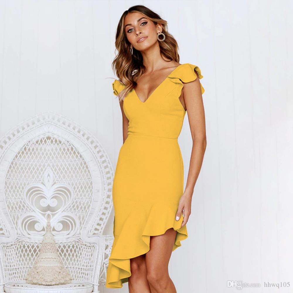 2019 Women S Sleeveless High Low Bodycon Mermaid Party Dress Sexy Slim V  Neck Backless Cocktail Night Club Dresses DZH1205 From Hhwq105 43219fd645e4