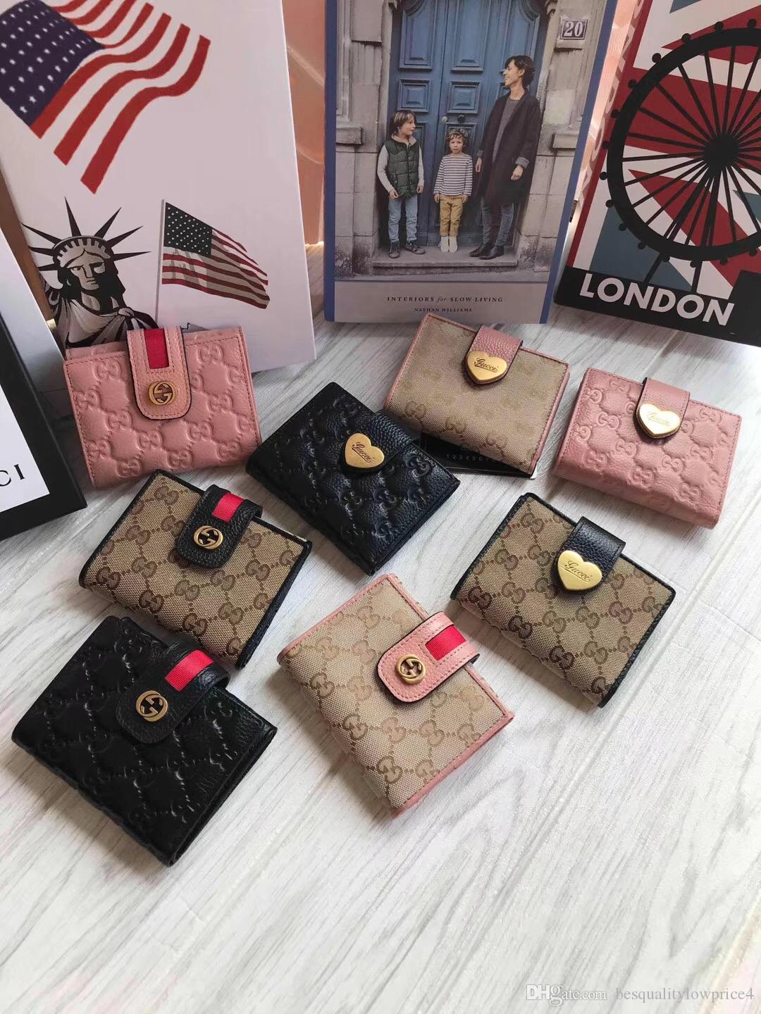 2018 Classic Leather Men's Women's Wallet with Coin Purse Date Code Short Wallet Card Holder Women's Fashion