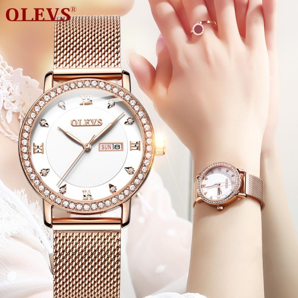 90e104eae2cbd Satın Al Kadın Saatler Bayan Kol Saati Moda Gül Altın Rhinestone Kadınlar  Için Lüks Bayanlar Izle Reloj Mujer Saat Relogio Zegarek Damski, $39.01 |  DHgate.