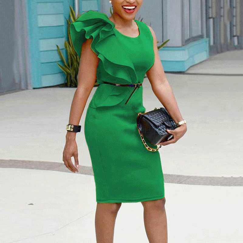33f8ffcea2 Women Pencil Dress Ruffle Asymmetric Sleeveless Midi Slim Solid Ol Elegant  Party Workwear Office Dresses Plus Size 6xl Vestido Y190425