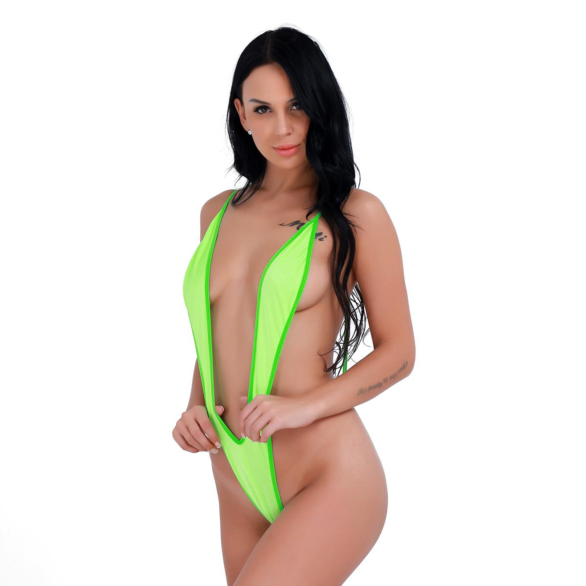 Seksi Tek Parça Mayo Derin V şekilli Monokini Kızlar Plaj Kıyafeti Mayo Kadınlar Tanga G string Bikini Bodysuit Mayo