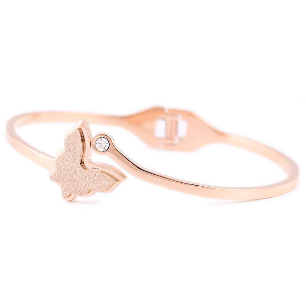Rose Gold 316L Stainless Steel Jewelry butterfly Bracelets Bangles for women