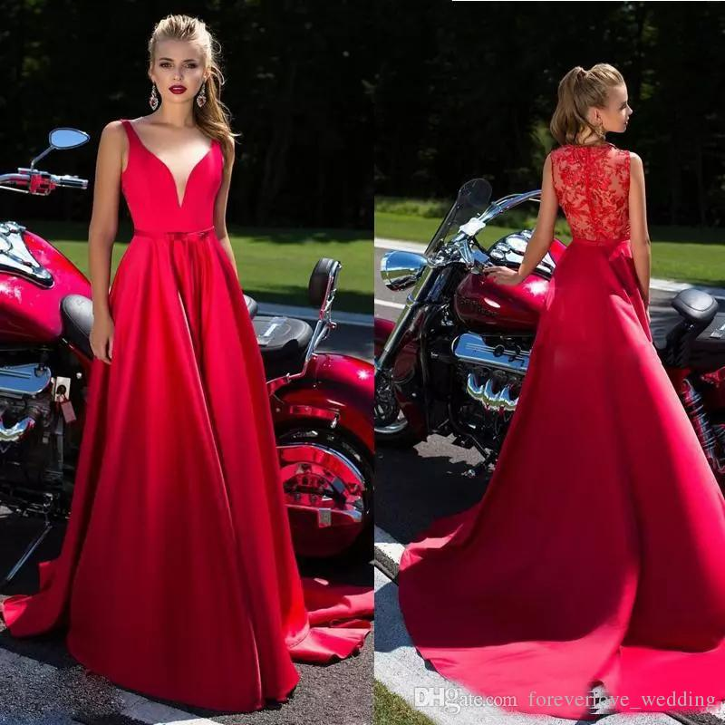 Red Satin A-Line Evening Dresses Draped With Sash And Lace Sheer Back Illusion Formal Long Prom Dresses Party Gown With Court Train