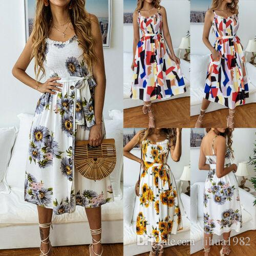 a693f5351e3ae Womens Holiday Strappy Midi Swing Party Dress Summer Beach Boob Tube Sun  Dresses
