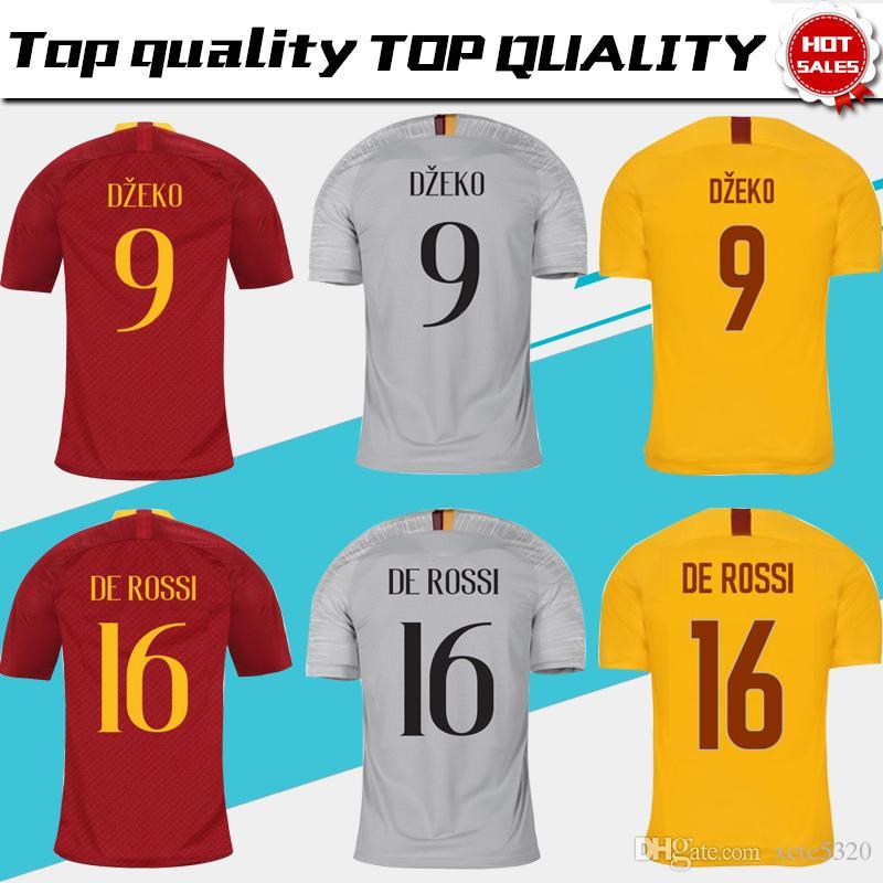 online store c4844 d092e 2019 TOTTI Roma home red Soccer Jersey 18/19 away grey DE ROSSI A.S.Roma  Soccer Shirt short sleeve 3rd Yellow DZEKO football uniform Sales